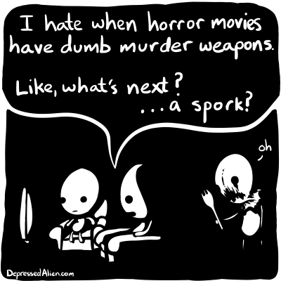 Alien watches some horror movies.